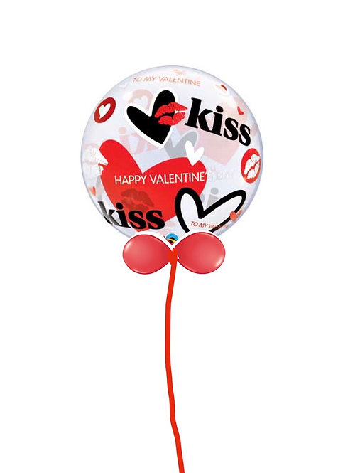 Large Bubble balloon finished with a balloon collar HEARTS & KISSES