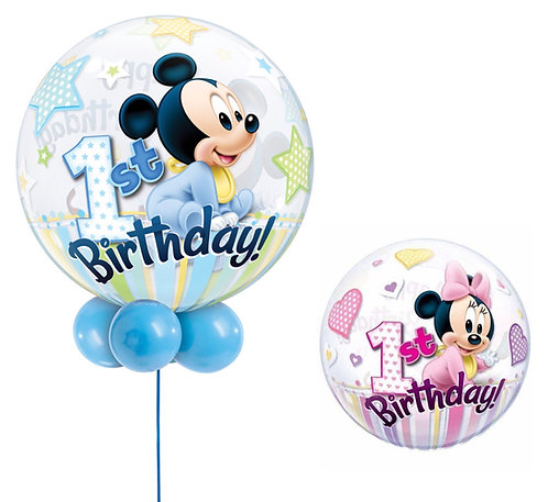 1st Birthday Mickey / Minnie Bubble Display