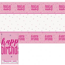 Happy Birthday Pink & Silver Glitz Plastic Tablecover