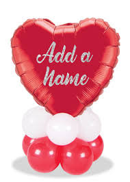 Table Top personalised Valentine or love you balloon display