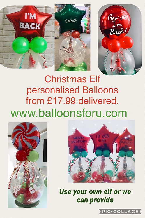 Christmas Personalised Elf Balloon - USING YOUR OWN ELF