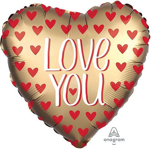 Love Supershape Foil Balloon Bouqu - LOVE YOU GOLD HEART