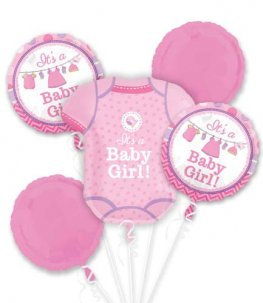 New Baby Girl or Boy all foil balloon bouquet