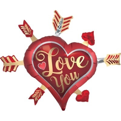 Love Supershape Foil Balloon Bouquet - LOVE YOU BOW & ARROW HEART