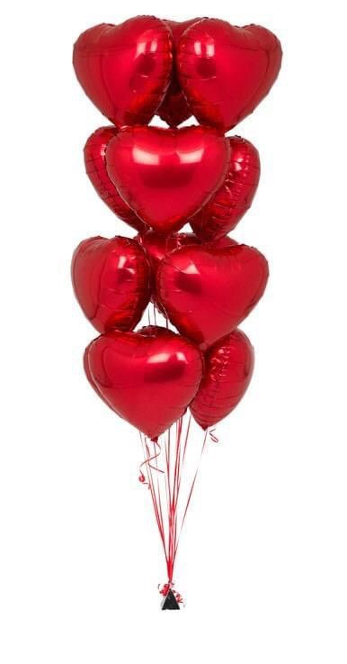 Half a Dozen Red Heart all foil Balloon Bouquet