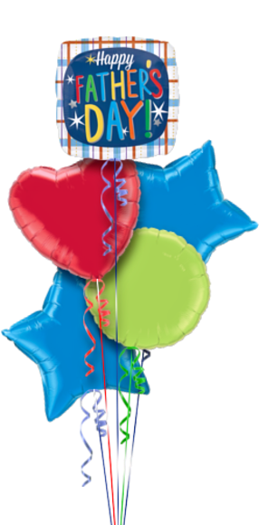 Fathers Day Hearts & Stars Foil Balloon Bouquet
