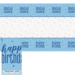 Happy Birthday Blue & Silver Glitz Plastic Tablecover