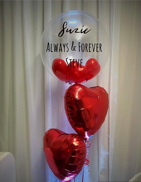 Personalised Valentine Bubble Balloon Cluster