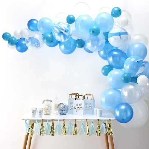 Blue DIY or inflated Balloon Garland/Arch Kit