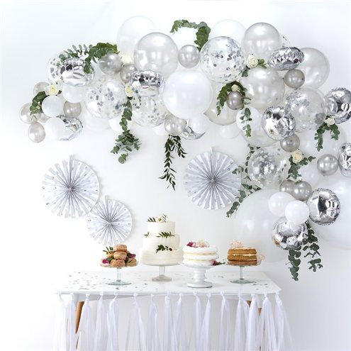 Silver DIY or inflated Balloon Garland/Arch Kit