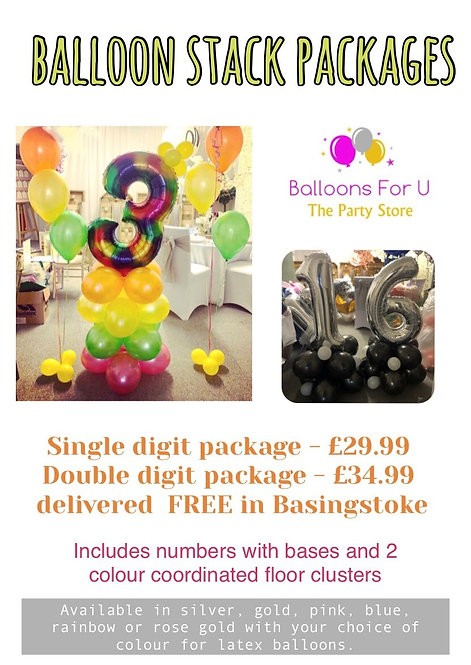 OPTION 1 - Balloon Stack Package SINGLE DIGIT