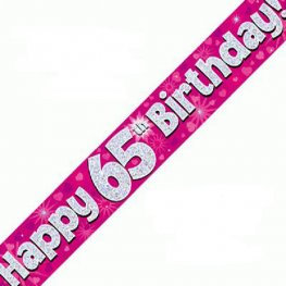 65th Birthday Banners (Available in pink, blue)