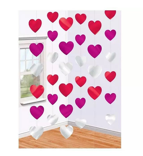 6 String of Hearts Valentines hanging heart strings all red, pink & silver
