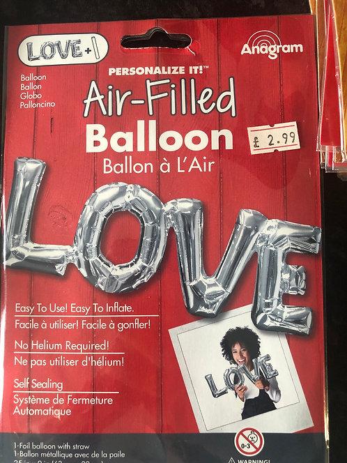 Silver LOVE Letter Balloon 25 inch/63cm (airfill)
