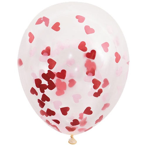 Pack of  5 Confetti Heart Latex (uninflated)