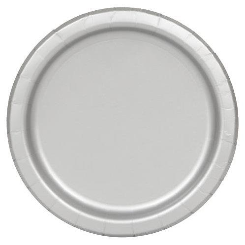Solid Colour Silver Paper Plates