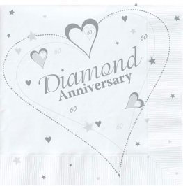 60th Diamond Anniversary Luncheon Napkins 16pk