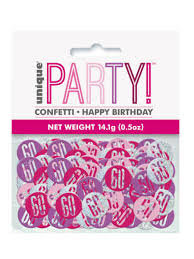 Pink Glitz Happy Birthday/Aged Holographic Assorted Table Confetti 14 Gr