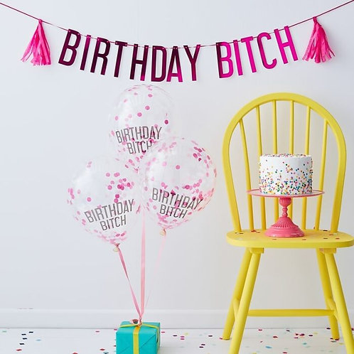 Birthday Bitch Pink Balloons & Bunting Pack - Naughty Party