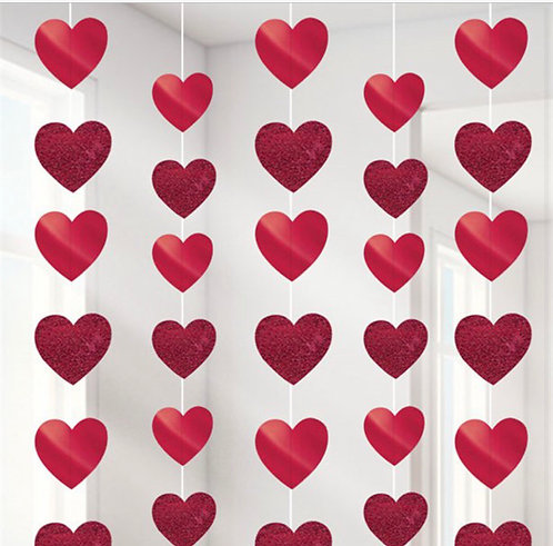 6 String of Hearts Valentines hanging heart strings all red