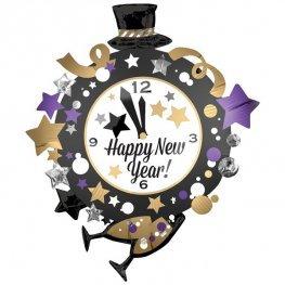 New Year Clock Supershape Balloon
