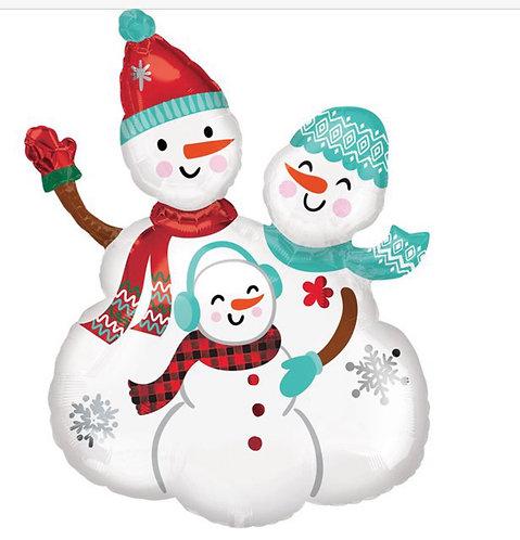 Snowman Family Supershape Balloon