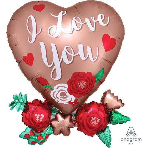 Love Supershape Balloon Bouquet - ROSE GOLD ROSES HEART