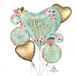 Mint to Be (From Miss to Mrs) all foil balloon bouquet