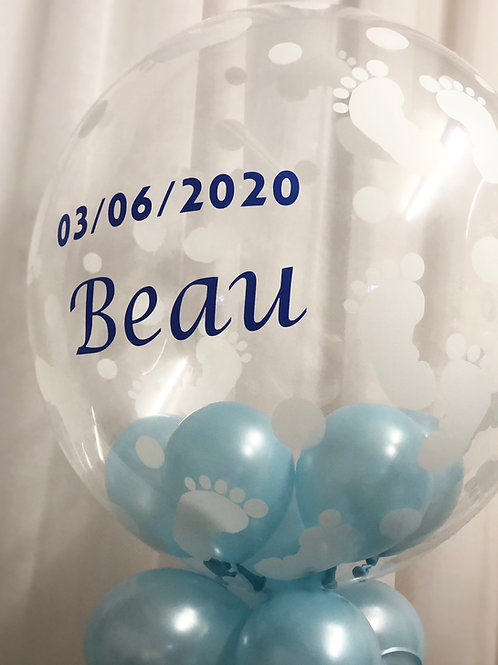 Welcome to the World/New Baby Personalised Bubble Balloon with Balloon Collar