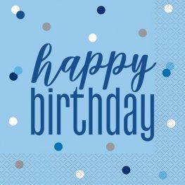Happy Birthday or Aged Blue & Silver Glitz Luncheon Napkins 16pk