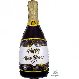 Happy New Year Champagne Bottle Supershape Balloon