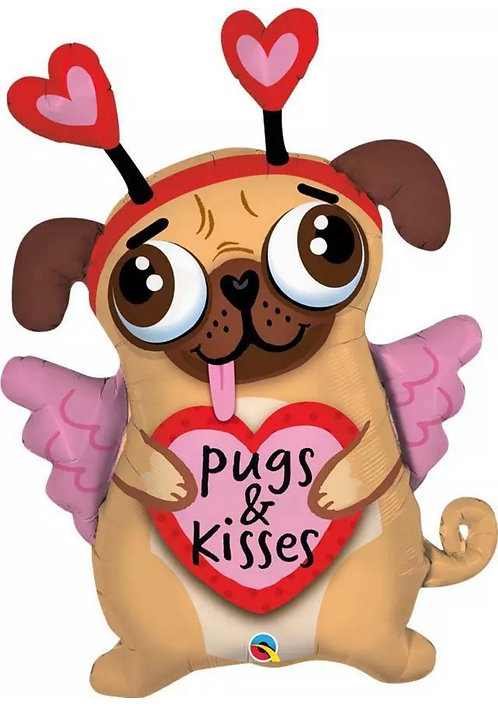 Valentine Supershape Foil Balloon Bouquet - PUG