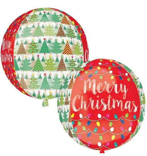 Merry Christmas see-through double sided large Orbz Balloon
