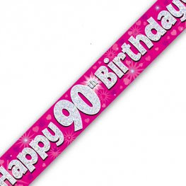 90th Birthday Banners (Available in pink, blue)