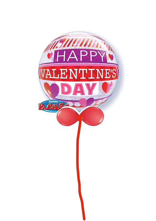 Large Bubble balloon finished with a balloon collar VALENTINE