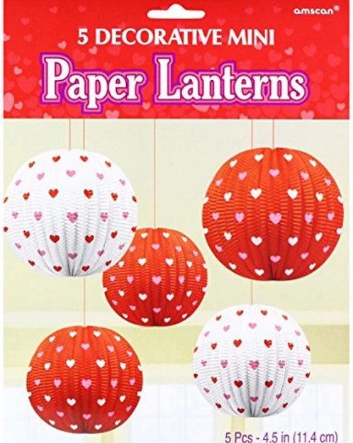 5 Decorative Mini Paper Lanterns Valentines