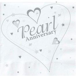 30th Pearl Anniversary Luncheon Napkins 16pk