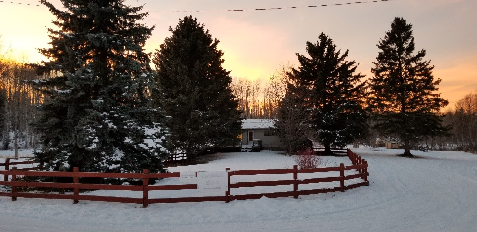 Creekside in winter sunset