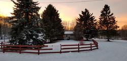Creekside in winter sunset