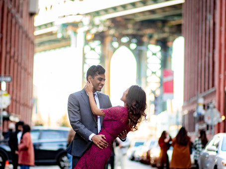 DUMBO, Brooklyn Engagement Shoot with Meera and Karthik