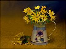 New sunflowers on hessian.JPG