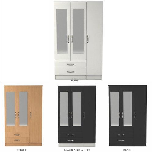 3 Door 2 Drawer Mirrored Wardrobe