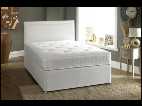Classic Divan Bed (White Suede)