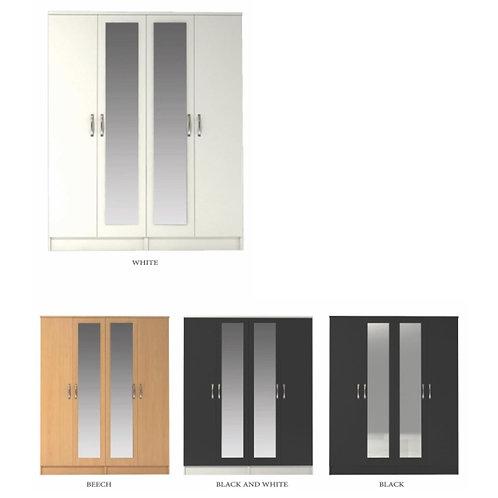 Classic 4 Door Double Mirrored Wardrobe