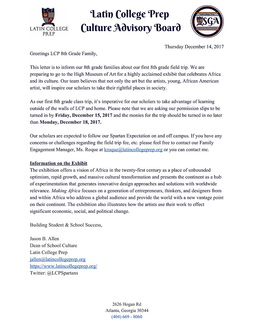 informer letter of family As part of the every day counts campaign, mayor muriel bowser celebrated jefferson middle school academy's success in creating a strong school community.