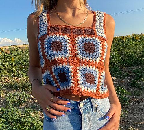 Brown crochet top