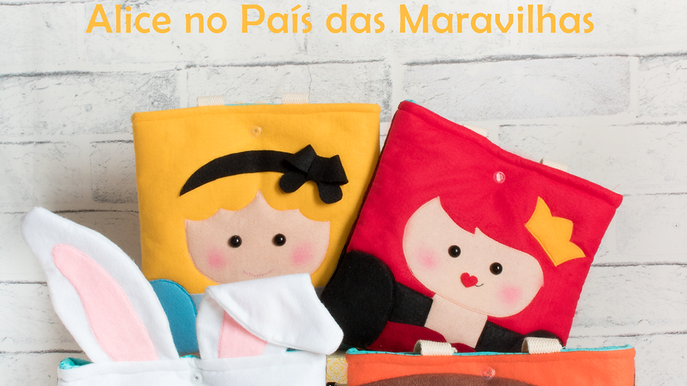Curso Digital - Bolsa de feltro Infantil -Alice no país das maravilhas