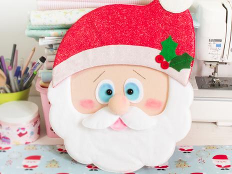 Aula de Natal Papai noel de feltro- Enfeite de porta