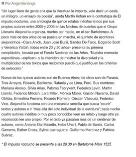 Página 12- Cultura y espectáculos - Por Ángel Berlanga, 2007