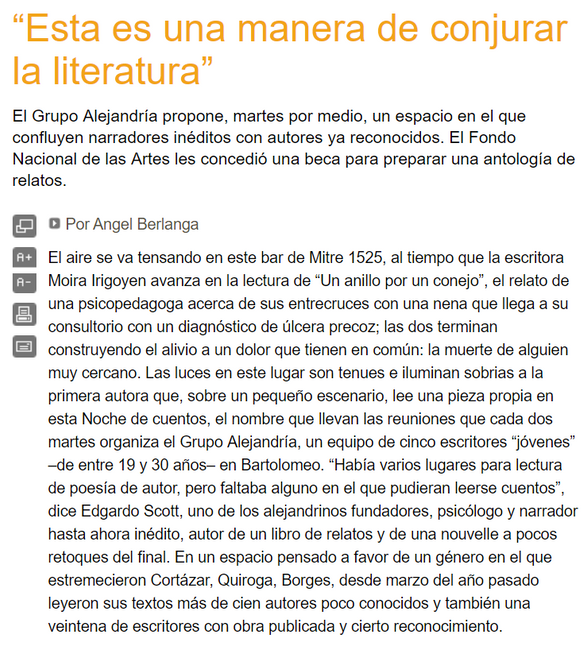Ángel Berlanga, Página12, 2006.